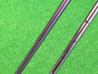 リシャフトの選択肢 カーボン(左) or スチール(右)